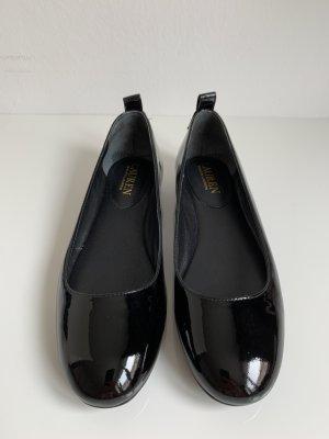 Ralph Lauren Ballerines en cuir verni noir-argenté