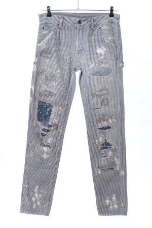 Ralph Lauren Jeans boyfriend gris clair-bleu motif rayé style décontracté