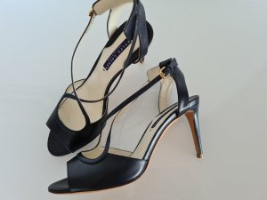 Ralph Lauren Strapped High-Heeled Sandals gold-colored-dark blue leather