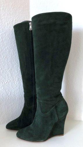Ralph Lauren Collection Stiefel 39 Grün Veloursleder Keilabsatz Wedges Boots us 9
