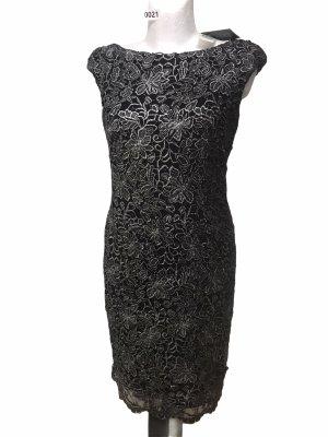 Ralph Lauren Damen Blumen Spitze Kleid Silber Schwarz S