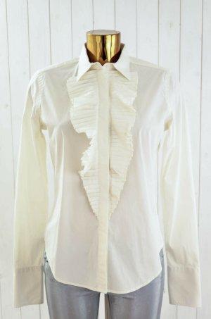 RALPH LAUREN Damen Bluse Offwhite Weiß Rüschen Klassisch Baumwolle Gr.10/38