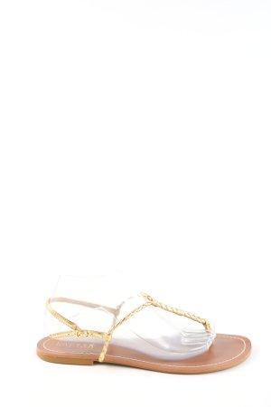 Ralph Lauren Flip Flop Sandalen goldfarben Zopfmuster Casual-Look