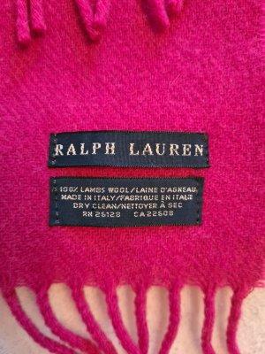 Ralph Lauren Bufanda de flecos rojo frambuesa