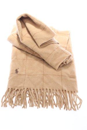Ralph Lauren Écharpe à franges crème motif à carreaux style décontracté