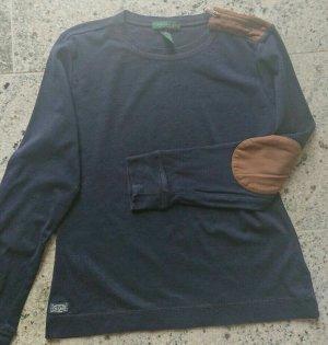 Ralph Lauren Gr. 38 M Langarmshirt Damen Shirt Pullover Blau, Reißverschluss