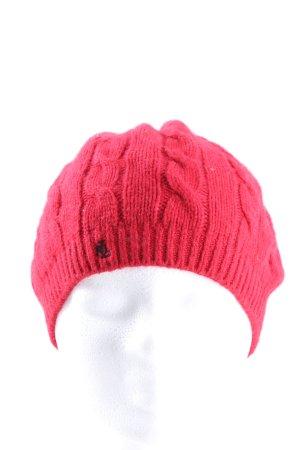 Ralph Lauren Bonnet en crochet rouge-noir lettrage imprimé style décontracté