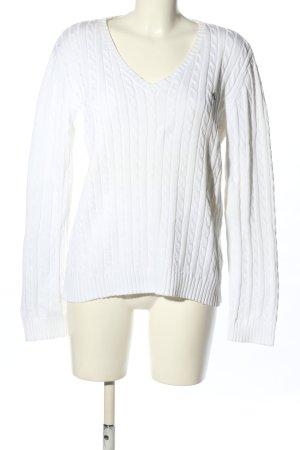 Ralph Lauren Jersey de ganchillo blanco punto trenzado look casual