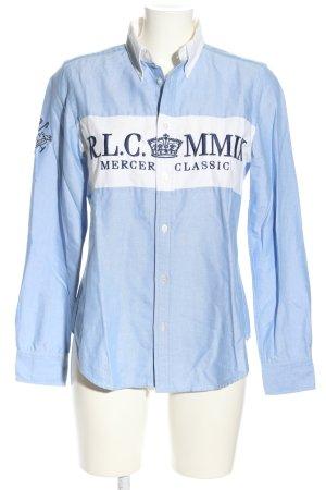 Ralph Lauren Hemd-Bluse blau-weiß Schriftzug gestickt Business-Look