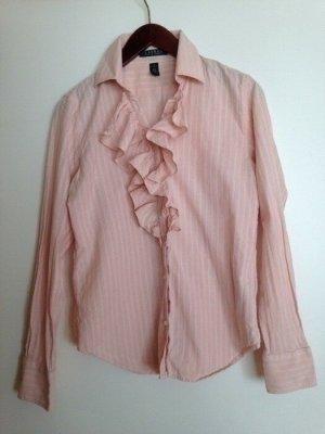 Lauren by Ralph Lauren Blouse à volants rosé-blanc coton