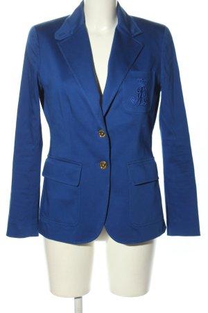 Ralph Lauren Korte blazer blauw geborduurde letters casual uitstraling