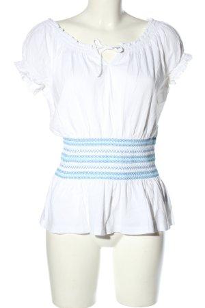 Ralph Lauren Kurzarm-Bluse weiß-blau Casual-Look