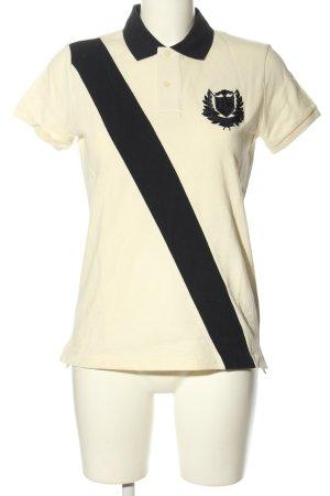 Ralph Lauren Kurzarm-Bluse wollweiß-schwarz sportlicher Stil