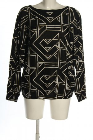 Ralph Lauren Langarm-Bluse schwarz-wollweiß grafisches Muster Business-Look