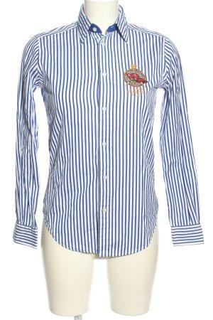Ralph Lauren Langarm-Bluse blau-weiß Allover-Druck Business-Look