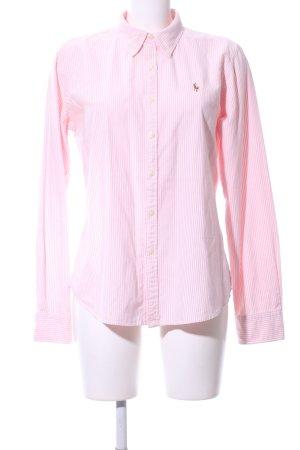 Ralph Lauren Langarm-Bluse pink-weiß Streifenmuster Business-Look