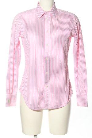 Ralph Lauren Camicia a maniche lunghe bianco-rosa motivo a righe stile casual