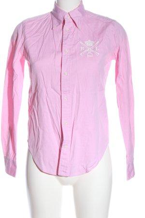 Ralph Lauren Langarmhemd pink-weiß Schriftzug gestickt Casual-Look