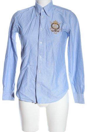Ralph Lauren Langarmhemd blau Schriftzug gestickt Casual-Look