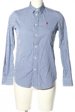 Ralph Lauren Camicia a maniche lunghe blu-bianco caratteri ricamati stile casual