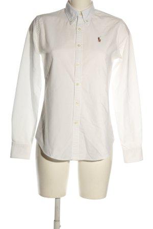 Ralph Lauren Langarmhemd weiß Schriftzug gestickt Casual-Look