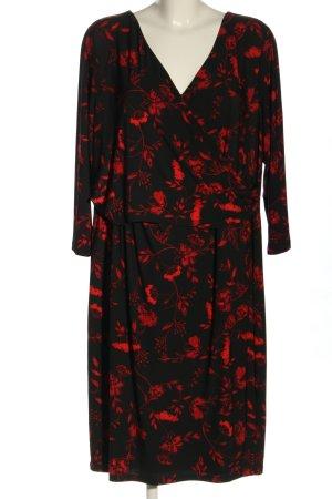 Ralph Lauren Langarmkleid schwarz-rot Allover-Druck Casual-Look