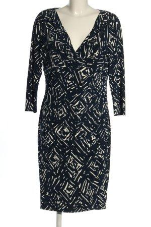 Ralph Lauren Langarmkleid blau-wollweiß abstraktes Muster Casual-Look