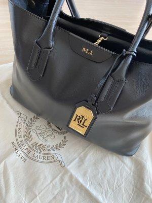 Ralph Lauren Leder Handtasche schwarz / Shopper