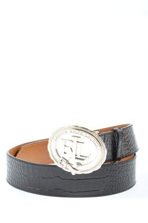 Ralph Lauren Cinturón de cuero negro estampado de animales look casual