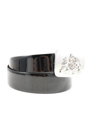 Ralph Lauren Cinturón de cuero de imitación negro look efecto mojado