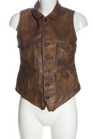 Ralph Lauren Gilet en cuir brun style décontracté