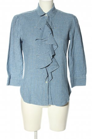 Ralph Lauren Blouse en lin blanc-bleu motif à carreaux style décontracté
