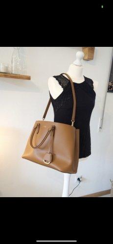 Ralph Lauren marcy  satchel Handtasche braun large cognac Leder Gold