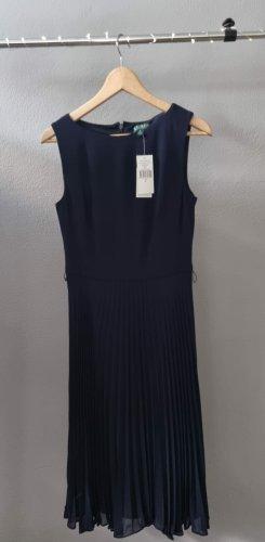 Ralph Lauren Midikleid Cocktailkleid Plissiertes Kleid Plisseekleid dunkelblau
