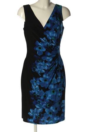 Ralph Lauren Minikleid schwarz-blau Blumenmuster Business-Look