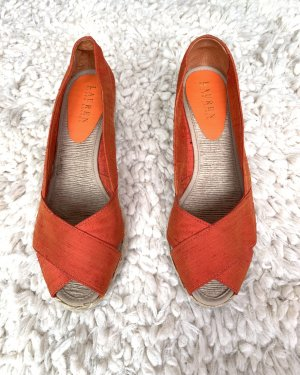 RALPH LAUREN orange-farbige Wedges mit Peeptoes