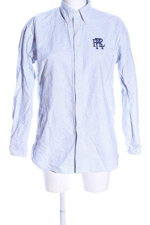 Ralph Lauren Oversized Bluse blau-weiß Schriftzug gestickt Casual-Look