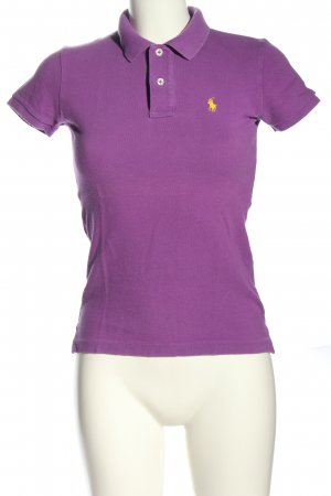 Ralph Lauren Polo-Shirt lila-blassgelb Casual-Look