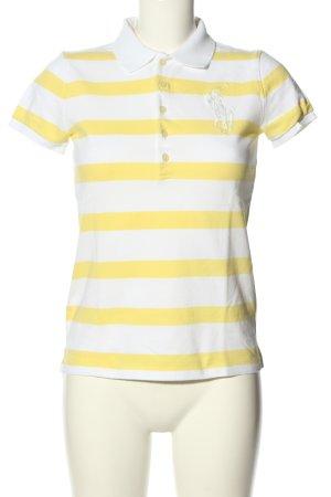 Ralph Lauren Polo-Shirt weiß-blassgelb Streifenmuster Casual-Look