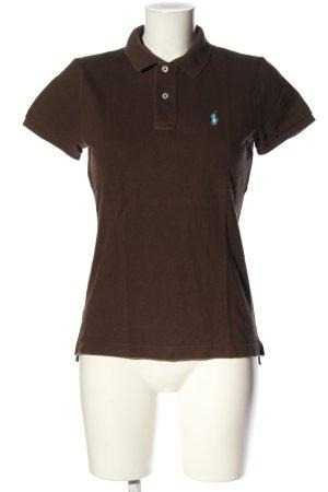 Ralph Lauren Polo shirt bruin geborduurde letters casual uitstraling
