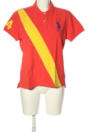 Ralph Lauren Polo-Shirt rot-blassgelb Streifenmuster Casual-Look