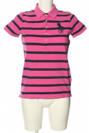 Ralph Lauren Polo-Shirt pink-schwarz Streifenmuster Casual-Look