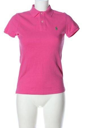 Ralph Lauren Polo-Shirt pink Schriftzug gestickt Casual-Look