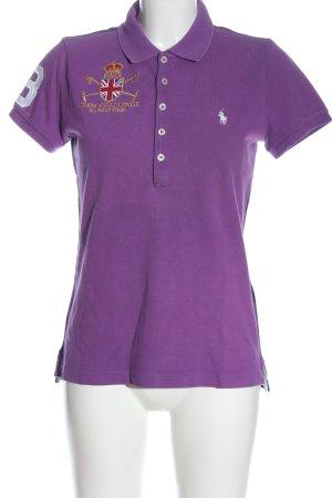 Ralph Lauren Polo-Shirt lila-blau Schriftzug gestickt Casual-Look