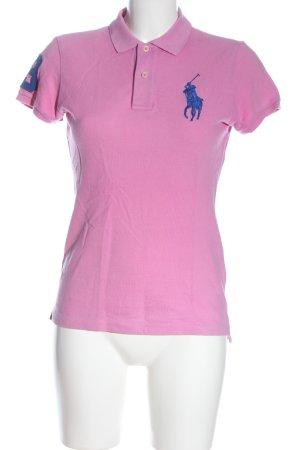 Ralph Lauren Camiseta tipo polo rosa estampado temático estilo sencillo
