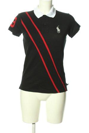 Ralph Lauren Polo-Shirt schwarz-rot Streifenmuster Casual-Look