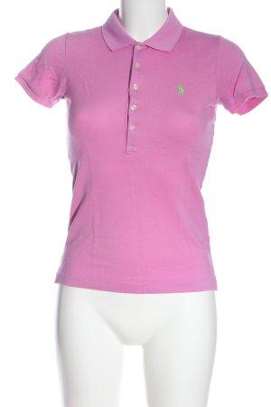 Ralph Lauren Camiseta tipo polo rosa letras bordadas look casual
