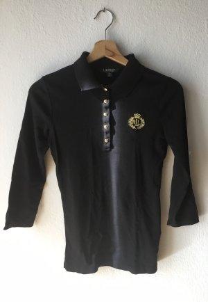 Lauren by Ralph Lauren Camiseta tipo polo negro-color oro Algodón