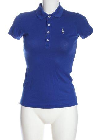 Ralph Lauren Polo-Shirt blau Schriftzug gestickt Casual-Look
