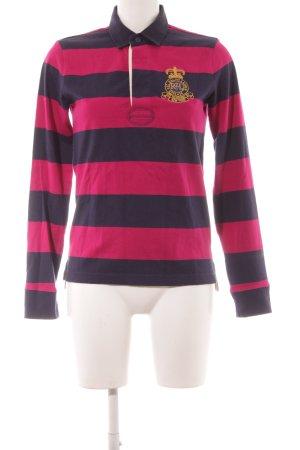 Ralph Lauren Polo-Shirt magenta-dunkelblau Streifenmuster Casual-Look